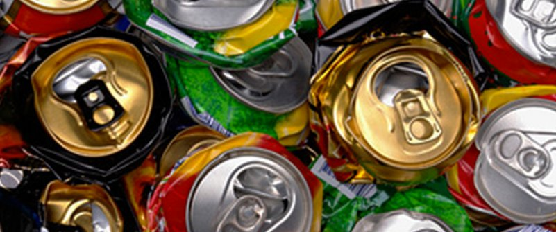 Cans crushed for recycling