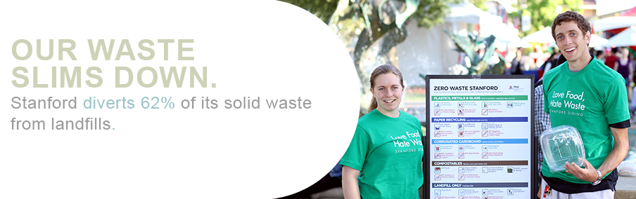 Our waste slims down. Stanford diverts 65 percent of its solid waste from landfills.